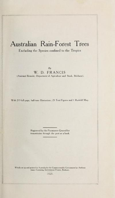 Australian rain-forest trees, excluding the species confined to the tropics /