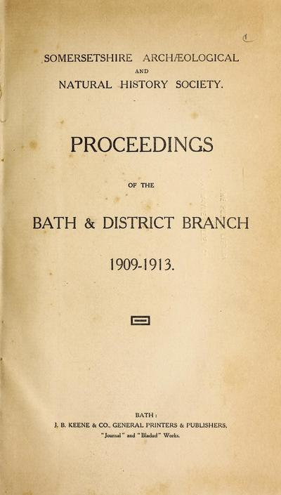 Proceedings of the Bath and District Branch