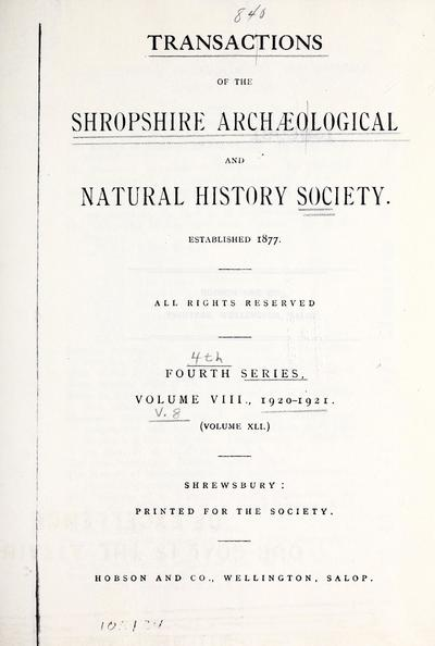 Transactions of the Shropshire Archaeological and Natural History Society.