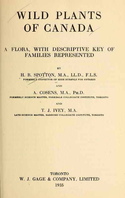 Wild plants of Canada : a flora, with descriptive key of families represented /