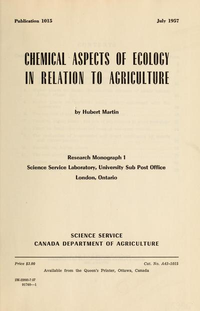 Chemical aspects of ecology in relation to agriculture.