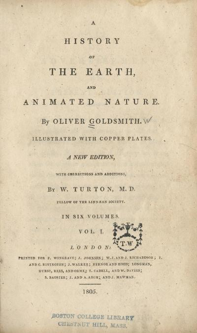 A history of the earth, and animated nature. /