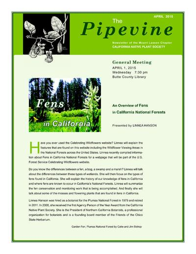 Newsletter of California Native Plant Society, Mt. Lassen Chapter