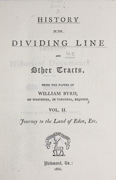 History of the dividing line, and other tracts /