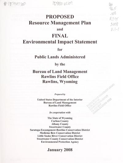 Proposed resource management plan and final environmental impact statement for the Rawlins Field Office