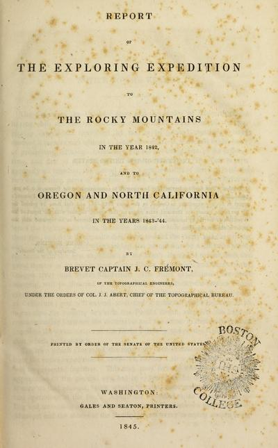Exploring expedition to Oregon and north California in the years 1843-1844