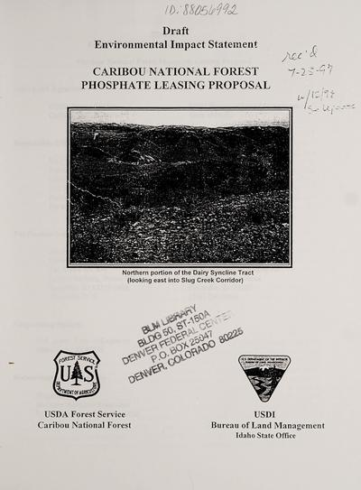 Caribou National Forest phosphate leasing proposal.