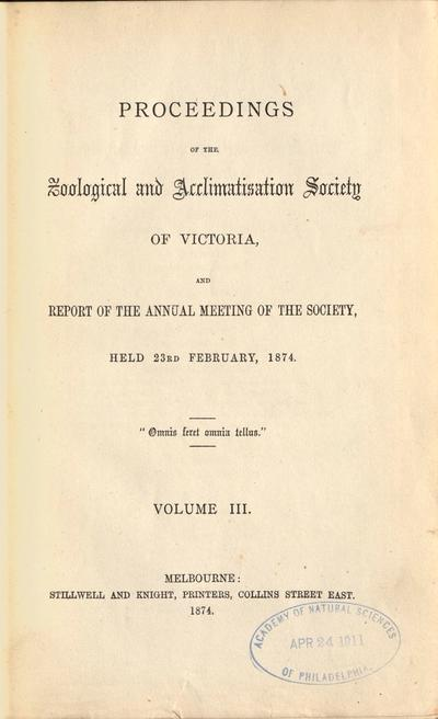 Proceedings of the Zoological and Acclimatisation Society of Victoria, and report of the annual meeting of the society.