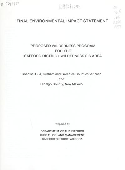 Safford District final wilderness environmental impact statement