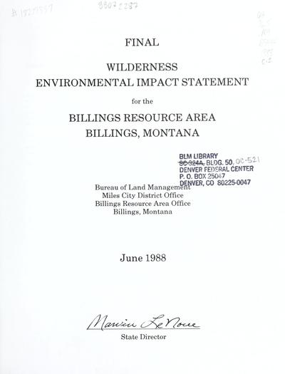 Wilderness environmental impact statement for the Billings Resource Area, Billings, Montana : final report
