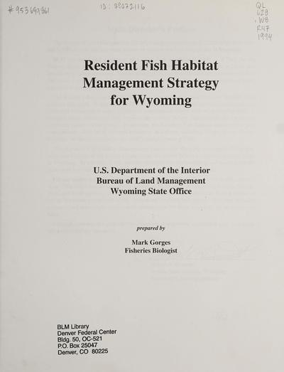 Wyoming resident fish habitat management strategy