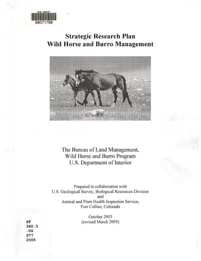 Strategic research plan : wild horse and burro management /