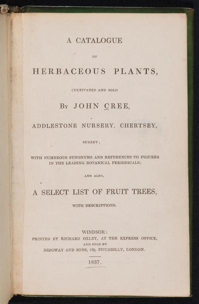 A Catalogue of herbaceous plants, cultivated and sold /
