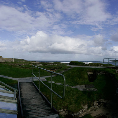 Panoramic Photography of link grassy knoll 6-7, Skara Brae