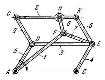 Kempe straight-line mechanism having a link with rectilinear translation
