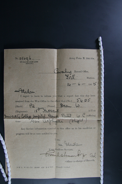 A form folded into fours, with particulars relating to the injured man, Private William Dean, filled out by hand in black ink.