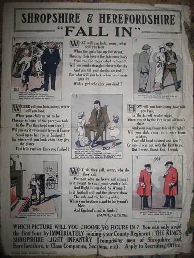 Poster of Recruiting Poem: 'Fall In', by Harold Begbie
