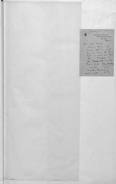 B. Letter from Rupert [Chawner] Brooke to Harriet Monroe, editor of Poetry,: A Magazine of Verse (Chicago), enclosing (ff. 4-6) the typescript of his five war sonnets; Blandford, 26 Jan. 1915. The first, fourth and fifth were duly published op. cit., vi, Apr. 1915, pp. 18, 19, and all were printed in the last issue of New Numbers. The letter is partly quoted in Harriet Monroe, A Poet's Life, 1938, P. 345. ff. 2-7. Presented by Arthur Davison Ficke, whose covering letter (f. 7) is included.
