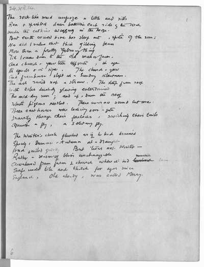 POEMS (62) OF PHILIP EDWARD THOMAS (d. 1917); 24 Dec. 1914- 24 May 1915. Autograph, with a few alternative drafts. Arranged chronologically. See also Brit. Mus. Quart., xii, 1937-1938, pp. 11-13, and, for a brief account of the beginning (in 1914) of Thomas's poetical activity, R.P. Eckert, Edward Thomas, 1937, pp. 150-151. All the poems were subsequently printed, the majority either as written here or with only slight alterations and the addition, where wanting (as in the majority), of titles, but a few were substantially revised before printing and of one poem (written 28, revised31 Mar., f. 46) the cancelled earlier draft is the one printed. The following were first printed under the pseudonym 'Edward Eastaway':-f. 1 (in Thomas's anthology This England, 1915); ff. 9, 23, 75 (in Six Poems, 1916); the same three, with ff. 7, 10, 16, 38, 47, 57, 65 (in An Annual of New Poetry, London, 1917). All the poems appear in the two volumes posthumously published under Thomas's own name, Poems, 1917, and Last Poems, 1918. For a bibliography see R.P. Eckert, op. cit., pp. 185-277. Paper; ff. 77. Quarto. 1914-1915. Presented by the author's widow, Mrs Helen Thomas.