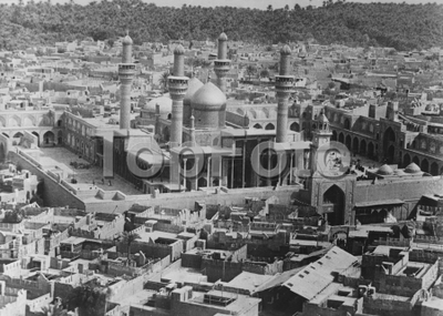 Baghdad now an island . The Khadiman Mosque , one of the finest buildings in Baghdad . 12 April 1926