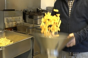 Portion of chips in a drainer