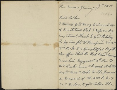 Mrs. E. Thompson writing to Fr. Gleeson about her son Private W. Thompson