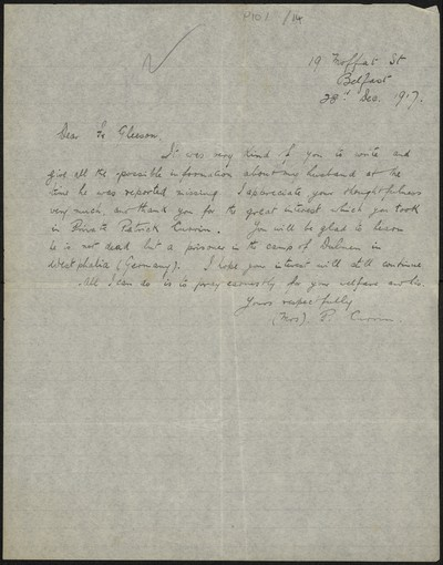 Mrs. P. Currin writing to Fr. Gleeson about her husband Private Patrick Currin