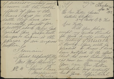 Mary Hawley writing to Fr. Gleeson about her son Private W. Hawley, 6463