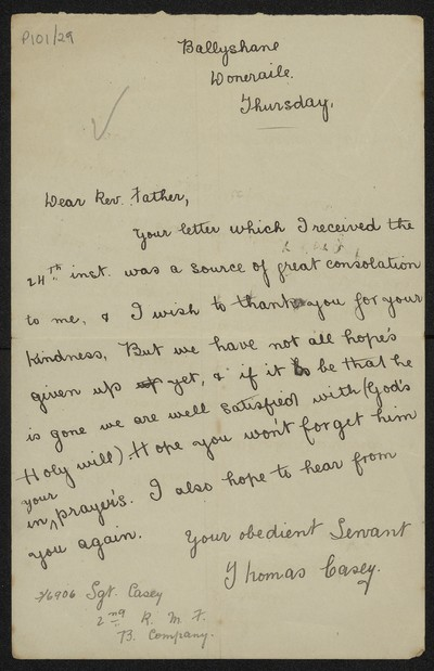 Thomas Casey writing to Fr. Gleeson about Sergeant w. Casey, 6906
