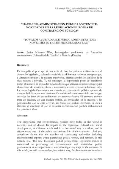 Hacia una Administración Pública sostenible. : novedades en la legislación europea de contratación pública = Towards a sustainable public administration : novelties in the EU procurement law, Javier Miranzo Díaz