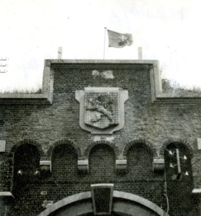 The Manchester's flag flying over the fort in Antwerp.